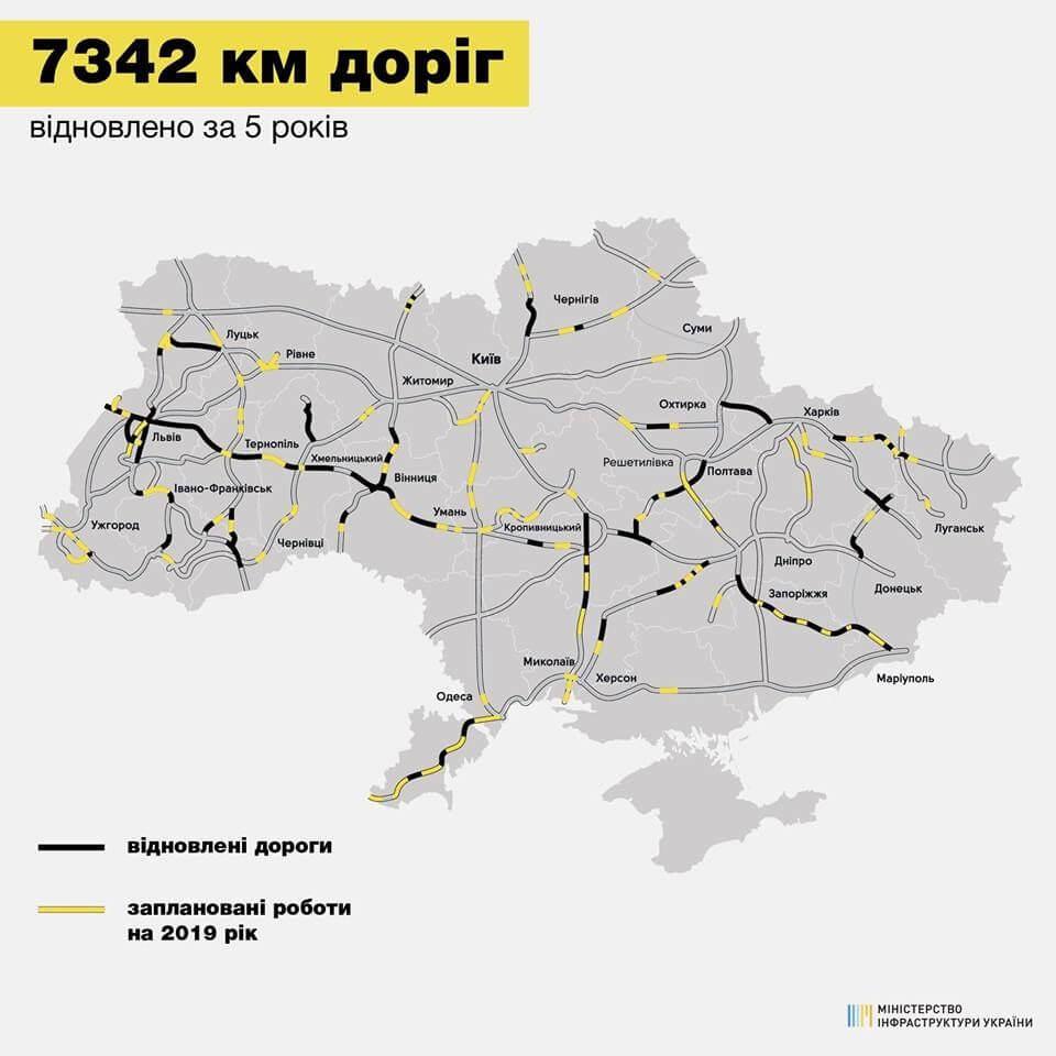 Карта отремонтированных дорог Украины
